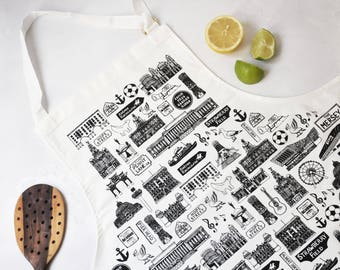 Liverpool Apron – Liverpool gift – Liverpool illustration – gift for foodie – gift for him