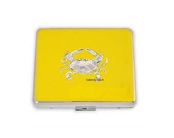 Crab Weekly Pill Box Hand Painted Enamel Yellow Opaque Nautical Inspired with Personalized and Color Options