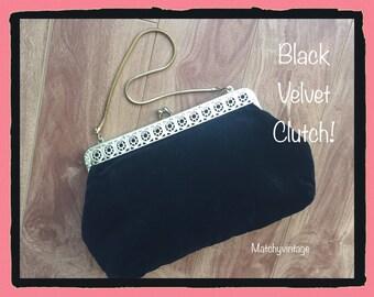 FREE SHIPPING | Black Velvet Clutch | Vintage Evening Bag | Dressy Formal Purse | Top Handle Handbag