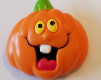 Vintage 1980s Russ Halloween Pumpkin Pin, Halloween Brooch, Halloween Pin