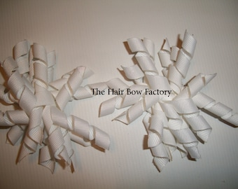 The Hair Bow Factory White Korker Hair Bows Set of 2