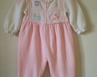 Vintage knit, baby girl one piece sweater suit.  Pastel pink. Size 3 months.