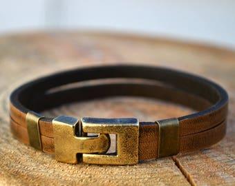 mens leather bracelet mens jewelry leather unique bracelet  brass clasp bracelet Anniversary Gift
