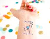 Llama Tattoo, Birthday Party Tattoos, lama tattoo, kids birthday tattoo, custom tattoo, personalized tattoo, party favor, child birthday