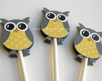 Owl Cupcake Toppers Gray and Soft Yellow - Owl Baby Shower Decorations--Set of 12