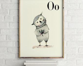 Owl print, nursery animal print, woodland nursery, alphabet letters, abc letters, alphabet print, animals prints for nursery
