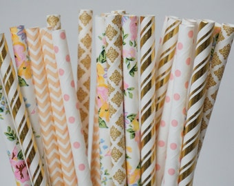 Pink Party Straws, Floral Straws, Baby Shower Decorations, Bridal Shower Decorations, Pink and Gold Party Straws, 25 Piece Mix