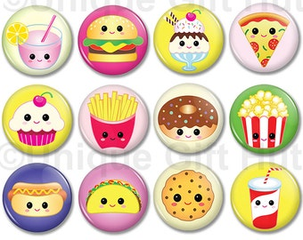 """Cute Kawaii food character Magnets, 1.25"""" Round Cute Playful Kawaii Magnets,party favor,goodie bag filler, set of 12, party, birthday gift"""