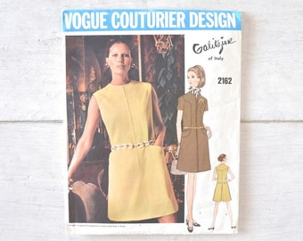Vogue Shift Dress Pattern 60s Galitzine Vintage Italian Designer Sewing Pattern No. 2162 Size 38 Bust