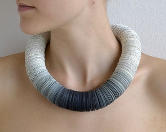 Necklace OMBRA gray made from book pages and gray papers