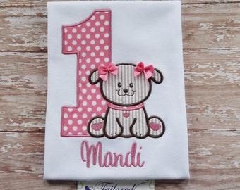 Personalized Birthday Shirt - Girls Birthday Shirt - First Birthday Shirt - Girls First Birthday - Puppy Birthday Shirt - Girls Puppy Bday