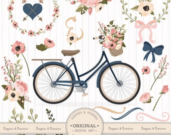 Premium Wedding Clipart & Vectors - Navy And Blush Bicycle Clipart, Wedding Bicycle, Bicycle and Flowers, Vintage Bicycle Clip Art