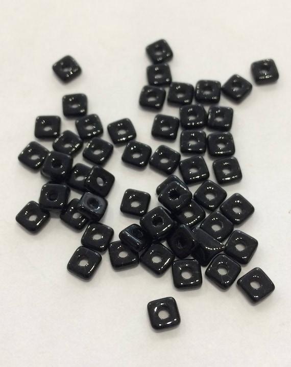 Czech Quad Beads Jet 5g (approx 110 beads)
