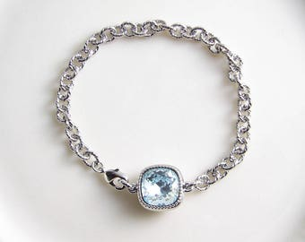 Swarovski Cushion Cut Bracelet ~ Square Crystal Bracelet ~ Chunky Bracelet ~ Light Azore ~ Bridesmaid Gift ~ Solitaire Bracelet