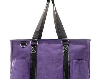 Monogrammed Purple Medium Utility Tote Nurse's Tote Bag
