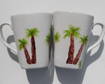 Palm Tree Cups Palm Tree Mugs Hand Painted Cups Palm Trees Palm Tree Coffee Cups Palm Tree Coffee Mugs Set of 2