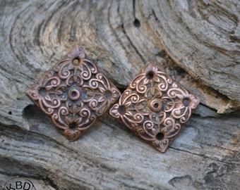 Copper Ornate Flower Diagonal Diamond Scroll #635