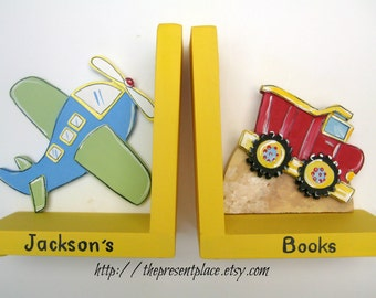 personalized dump truck bookends,airplane bookends,bright colors, boys bookends,dump truck bookends,kids bookends,childrens bookends