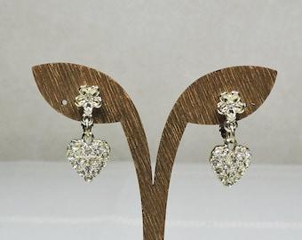 Rhinestone Heart Dangle Heart Earrings, Clip On