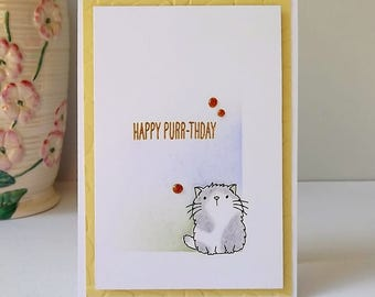 Happy Purr-thday, birthday card with stamped and hand coloured cat, heat embossed sentiment and embellishments