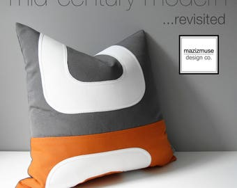Orange & Grey Outdoor Pillow Cover, Decorative Mid Century Modern Pillow Cover, Color Block Pillow Cover, Gray White Sunbrella Cushion Cover