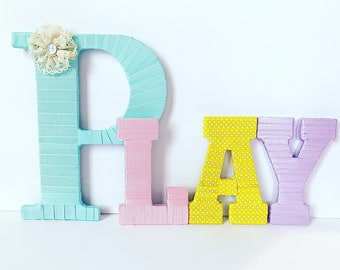 Playroom Letters, Kids Wall Letters, Playroom Wall Decor, Wall Letters, Home Decor, Childrens Room Decor, Baby Girl Nursery,  Playroom Art