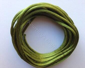 2mm Spring Moss Green Satin Rattail Nylon Cord Size 2mm Length 13yds per bundle