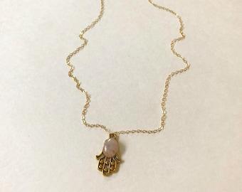 Rose Quartz Gold Hamsa Necklace