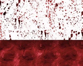 Dexter - Blood Splatter Blanket - Minky Blanket - Designer Minky - Red/Maroon