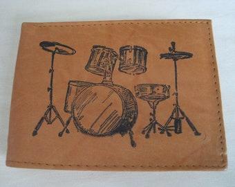 "Mankind Wallets Men's Leather RFID Blocking Billfold w/ ""Drummer/ Drum Set"" Image~Makes a Great Gift!"