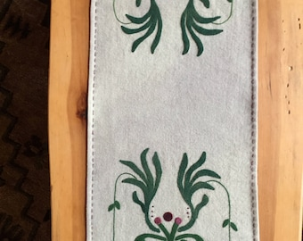 Fuchsia Flowers 100% wool table runner 32x 12 inches Mother's Day Gift