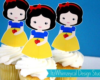 Classic Snow White Princess  Die Cut Cupcake Topper (One Dozen)