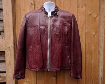 Vintage 1950's or 60's Glen Laine BAINTON The Old Mill Oxblood Red/Brown Distressed Genuine Leather Cafe Racer Jacket Coat Made in Canada