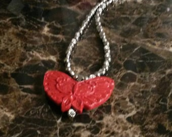 Cinnabar Butterfly Necklace, 17.5 inches.......