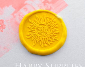 Buy 1 Get 1 Free-Wax Seal Stamp-1pcs 30mm Round Sun,Moon & Star with Human Faces Metal Stamp/Wedding Wax Seal Stamp/Sealing Wax Stamp(WS424)