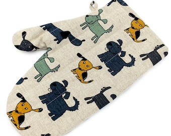 """Diner oven gloves, baking glove, potholders, cooking-mitts """"Blue dog"""" (12"""" x 5,5""""/8,6"""") linen/cotton, Mother's Day, gift"""