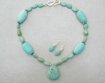 Magnesite Teardrop Pendant & Magnesite Beads, Aqua Turquoise Color, Bone Disks, Matching Earrings, Necklace Set by SandraDesigns