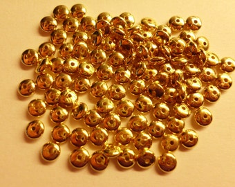 Vintage Metalized Saucer Beads 6mm Gold Plated Lucite  Lot of 100
