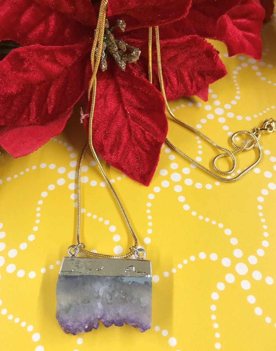 amethyst slice pendant amethyst necklace crystal necklace