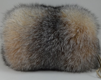 Crystal Fox Fur Hand muff New Handmuff made in usa