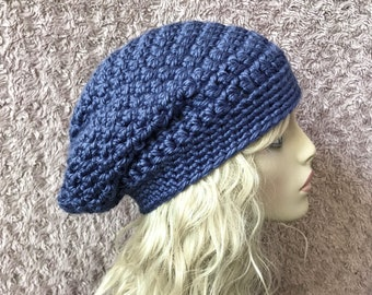 Denim Blue Slouchy Crochet Hat