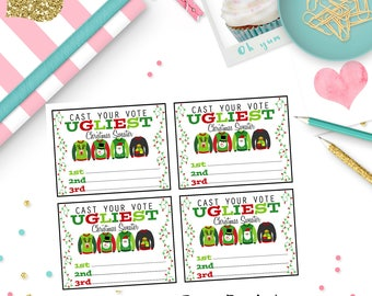Ugly Sweater Party Ballots, Ugly Sweater Christmas Party Ballot Cards, Ballot Cards
