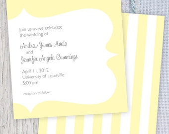 Yellow Striped Printable Wedding Invitation & RSVP with Monogram