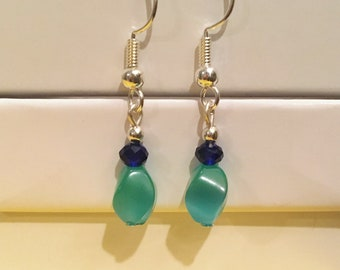 Teal Dangle Earring / Teal Bead Earring / Blue Bead Earring / Blue Dangle Earring / Blue Crystal Earring / Women Gift / Ashbee's Accessories