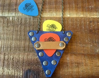 Guitar Pick Holder Necklace - Leather Case - Blue and Natural - Guitar Accessories - Leather Jewelry for Him or Her