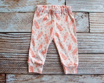 organic baby leggings, baby pants, baby leggins, toddler pants, organic toddler leggings, feathers, pink, organic baby, feather leggings