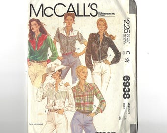 McCall's 6938 Pattern for Women's Western Blouse / Shirt, Long or Short sleeves, Dated 1980, Size 14, Bust 36 inches, Factory Folds, Unused