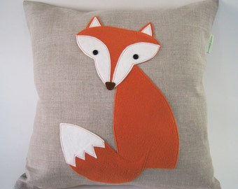 "Curious Fox Pillow Cushion/ Organic Linen Pillow Cover/ Decorative Pillow/ 16""x16""/ OOAK/ Made To Order"