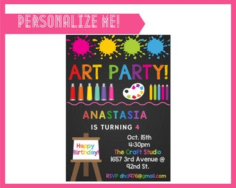 Art Party Invitation - INSTANT DOWNLOAD