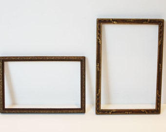 2 Lovely, Vintage, Embossed Gold, Picture Frames, One Art Deco, One Arts & Crafts, Small and Delicate, Original Finishes, Ready to Use